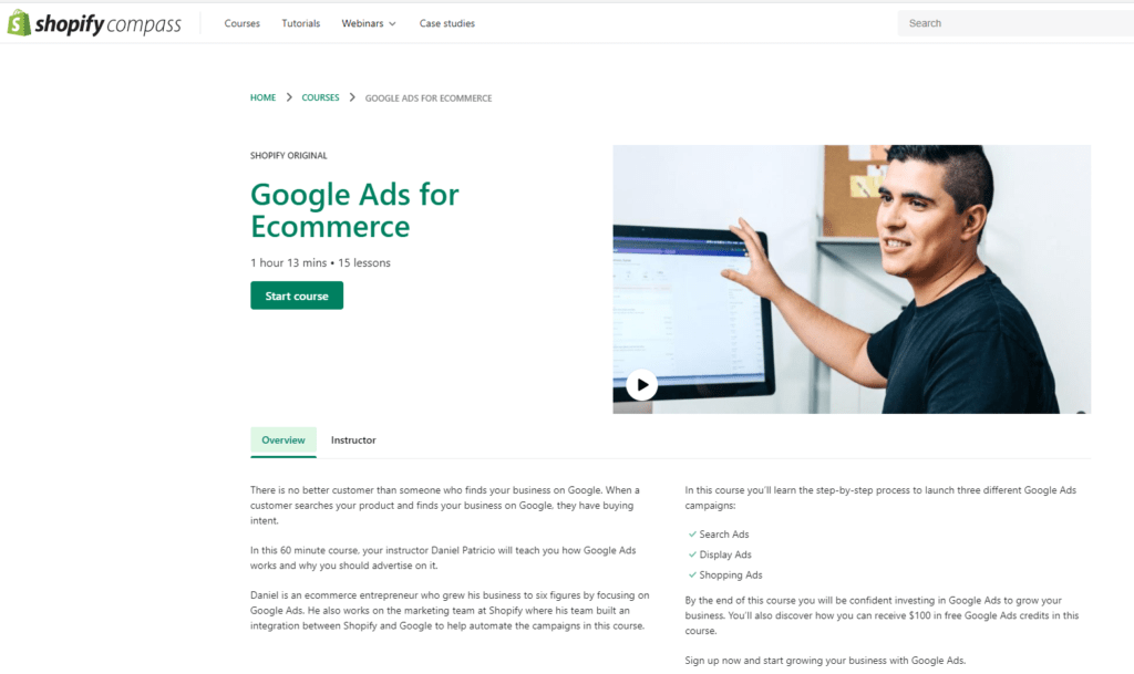 Formation Google Adwords shopify