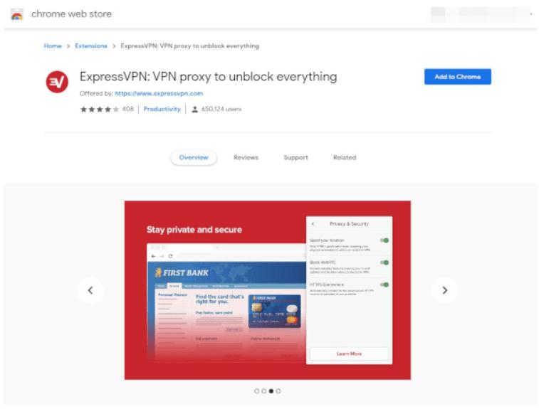 capture d'écran express vpn